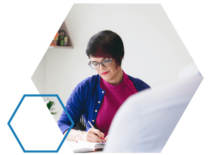 Small Business Consultant, Louise writing